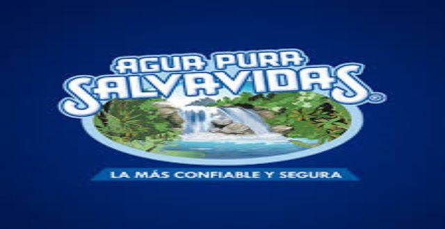 Logotipo de la empresa Agua Pura Salvavidas con un fondo azul