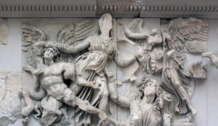 Athena sconfigge Alkyoneus (dettaglio)