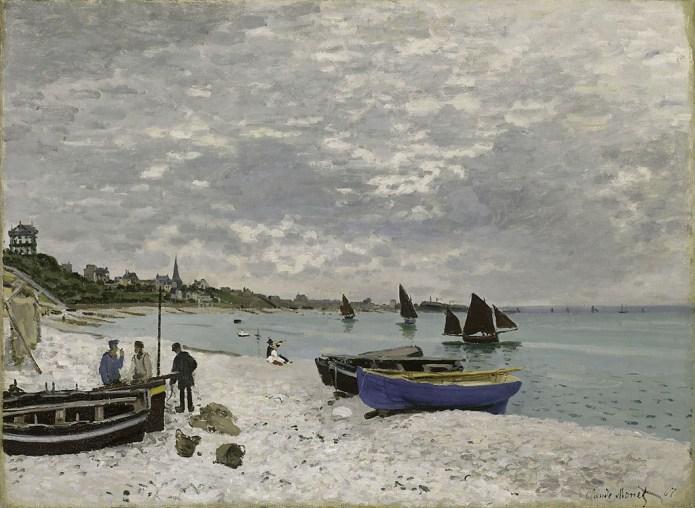 Spiaggia a Sainte-Adresse, olio su tela (75,8xcm 102,5 cm), realizzato nel 1867 dal pittore francese Claude Monet.