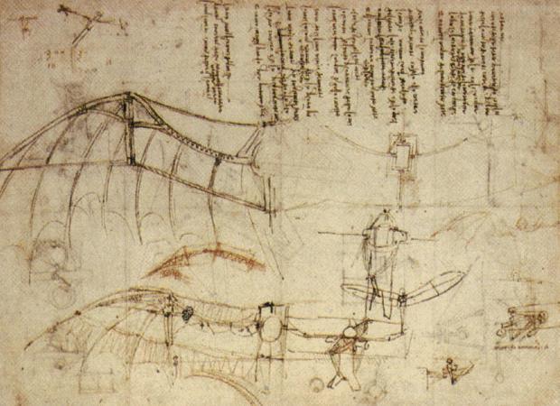 Disegno macchina volante di Leonardo 1488