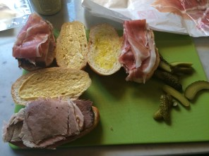 Prosciutto substitutes for boiled ham and olive oil for butter