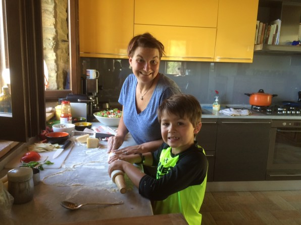 Colleen & Avery making the pies