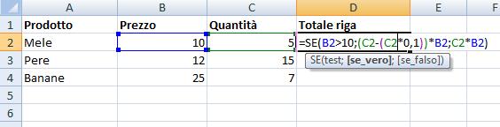 La funzione SE di Excel