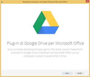 Primo avvio del plugin Google Drive per Office