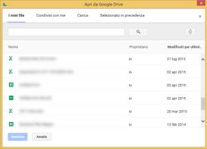 Aprire un file da Google Drive