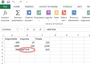 Uso di costanti nelle formule di Excel