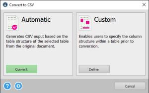 Modalità di conversione CSV