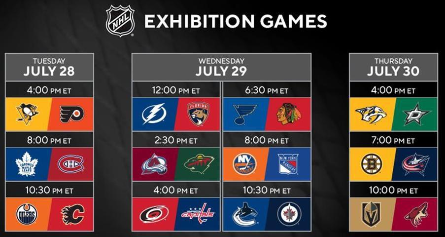 Qui NHL: varato il programma della amichevoli pre play-off di Edmonton e Toronto