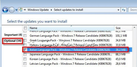windows 7 RC italian language pack