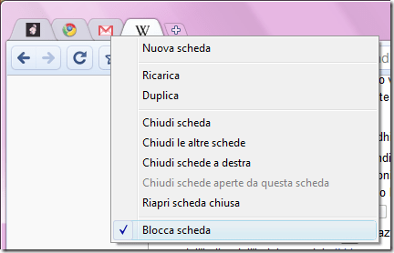 Chrome favicon schede
