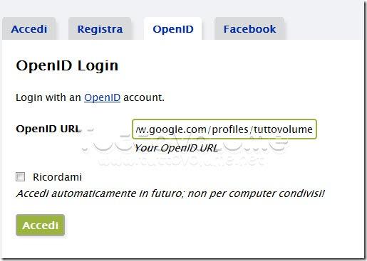 Accesso URL OpenID