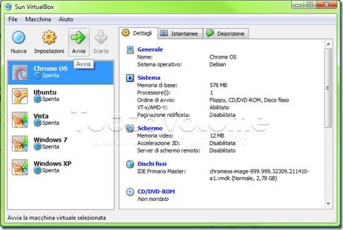 Chrome OS Avvia Sistema Virtuale