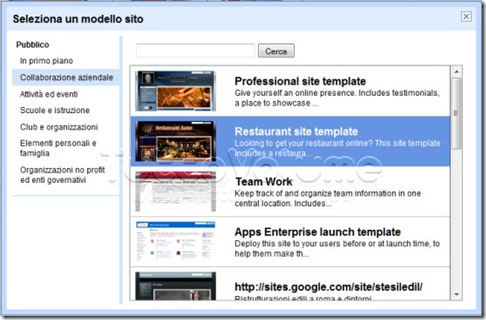 Modelli Google Sites