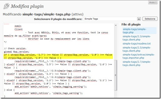 Modifica compatibilità WP plugin SImple Tags