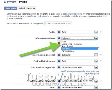 Opzioni Privacy Facebook