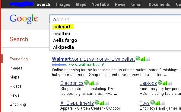 Google search auto suggestion - w - walmart