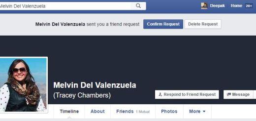 Fake facebook profile and friend request