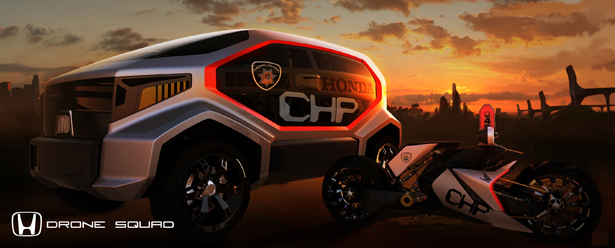 Honda Chp Drone Squad Futuristic Highway Patrol Vehicle
