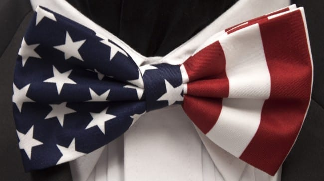 Bow Tie Patriotic American Flag Adjustable Bowtie for Wedding Party