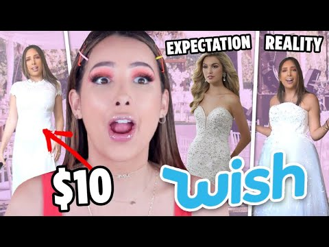 TRYING ON WEDDING DRESSES FROM WISH.COM!! WEDDING DRESSES UNDER $20 😱🤑| Mar