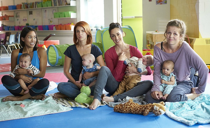 (l-r) Jessalyn Wanlim as Jenny, Dani Kind as Anne, Catherine Reitman as Kate, Juno Rinaldi as Frankie