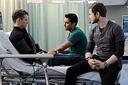 The Resident Season 3 Episode 10 L-R: Guest star Cayden Boyd, Manish Dayal and Matt Czuchry