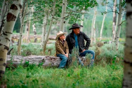 (L-R) Brecken Merrill as Tate Dutton and Kevin Costner as John Dutton