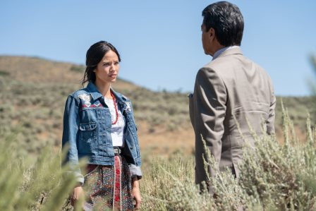 "(L-R) Kelsey Asbille as Monica Dutton and Gil Birmingham as Thomas Rainwater season 3 Episode 6 of Yellowstone - ""All for Nothing"""