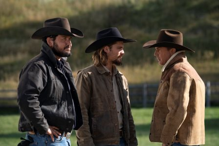 (L-R) Cole Hauser as Rip Wheeler, Luke Grimes as Kayce Dutton and Kevin Costner as John Dutton. Season 3 Episode 9 of Yellowstone
