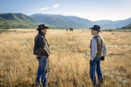 "(L-R) Cole Hauser as Rip Wheeler and Forrie J. Smith as Lloyd. Episode 8 of Yellowstone Yellowstone season 3 - ""I Killed a Man Today"" Premieres August 9th at 9 P.M."