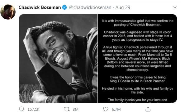 Record-breaking Tweet - Chadwick Boseman Final Tweet gets 6.7 million Likes