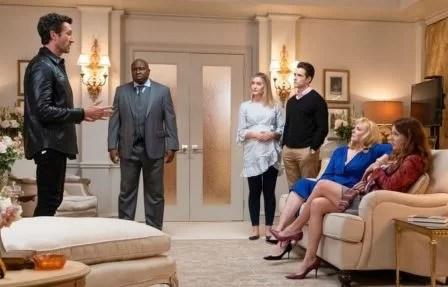 Aaron Lazar, Steve Harris, Olivia Macklin, Corey Cott, Kim Cattrall and Aubrey Dollar in the FILTHY RICH Episode 1
