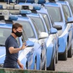 Tom was spotted on the set of Mission Impossible 7 in Italy surrounded by police cars,