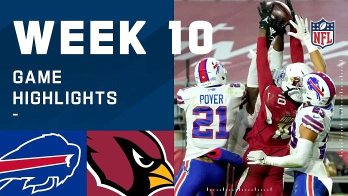 NFL 2020 Week 10 Highlights Bills vs Cardinals