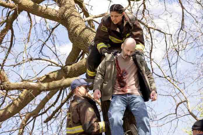Chicago Fire Season 9 Episode 13 Photos Jesse Spencer as Matthew Casey, Miranda Rae Mayo as Stella Kidd