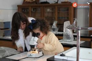 Alumna de 3º Infantil viendo insectos con la lupa binocular