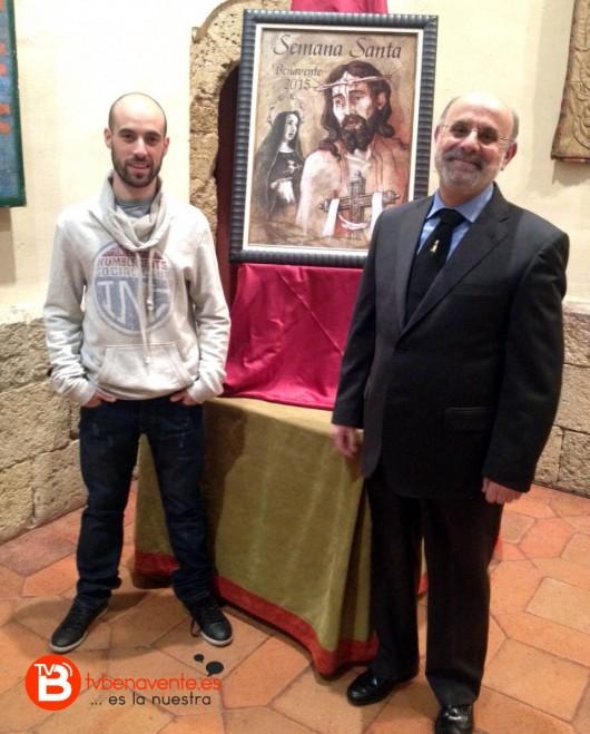 Jesús Javier Aguilar Gallego (autor del cartel) junto a Paulino Galván (Pte. Junta Pro Semana Santa Benavente)