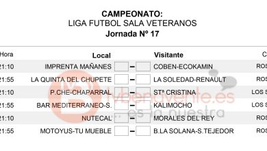 Photo of HORARIOS JORNADA 17 – Veteranos Fútbol Sala Benavente
