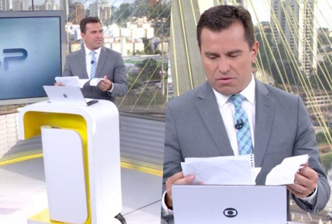 """Rodrigo Bocardi quebra protocolo, saca envelope ao vivo na Globo e lê cartas """"misteriosas"""": """"Espero que leia"""""""