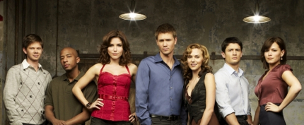 ONE TREE HILL - Lee Norris as Marvin 'Mouth' McFadden, Antwon Tanner as Skills, Sophia Bush as Brooke Davis, Chad Michael Murray as Lucas Scott, Hilarie Burton as Peyton Sawyer, James Lafferty asNathan Scott and Bethany Joy Galeotti as Haley James Scott in Season 5