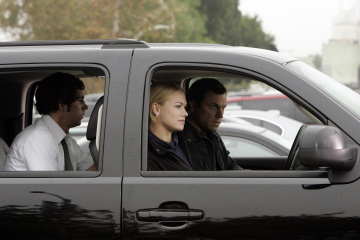 "CHUCK - Zachary Levi as Chuck Bartowski, Yvonne Strahovski as Sarah Walker, and Adam Baldwin as Major John Casey in ""Chuck vs. The Imported Hard Salami"""