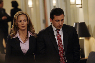 "THE OFFICE - Melora Hardin as Jan Levinson and Steve Carell as Michael Scott in ""The Deposition"""