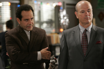 "MONK - Tony Shalhoub as Adrian Monk and Larry Miller as Garrett Price in ""Mr. Monk and the Man Who Shot Santa"""