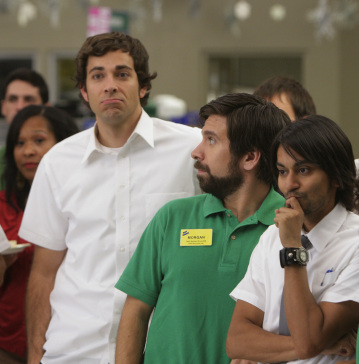 "CHUCK - Zachary Levi as Chuck Bartowski, Joshua Gomez as Morgan Grimes, and Vik Sahay as Lester in ""Chuck vs. The Crown Vic"""