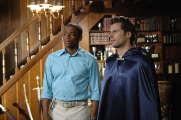 "PSYCH - Dule Hill as Burton ""Gus"" Guster and James Roday as Shawn Spencer in ""Dis-Lodged"""