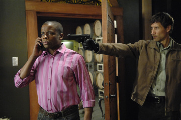 "PSYCH - Dule Hill as Burton ""Gus"" Guster and Roger Haskett as Mace in ""There's Something About Mira"""