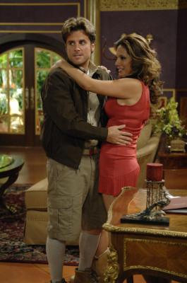 "PSYCH - James Roday as Shawn Spencer, Alex Meneses as Quintessa in ""Lights, Camera, Homicido"""