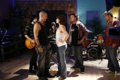 ONE TREE HILL - Adam Baker as guitarist, Kevin Federline as Jason, Kate Voegele as Mia, Bethany Joy Galeotti as Haley James Scott, Legree Graham as bassist, and Preston Tapia as drummer in