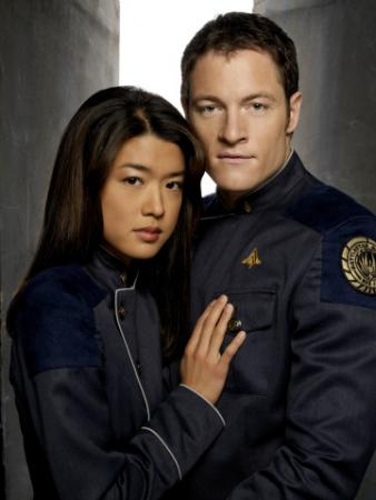 "BATTLESTAR GALACTICA - Grace Park as Sharon Valerii, Tahmoh Penikett as Karl ""Helo"" Agathon"