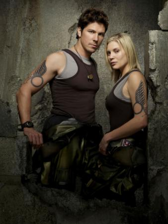 "BATTLESTAR GALACTICA - Michael Trucco as Sam Anders, Katee Sackhoff as Kara ""Starbuck"" Thrace"
